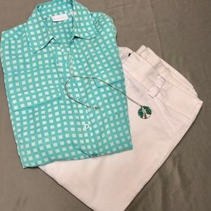 New York & Company Button Up Gingham Blouse Sz Med